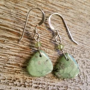 Natural green turquoise small teardrop earrings